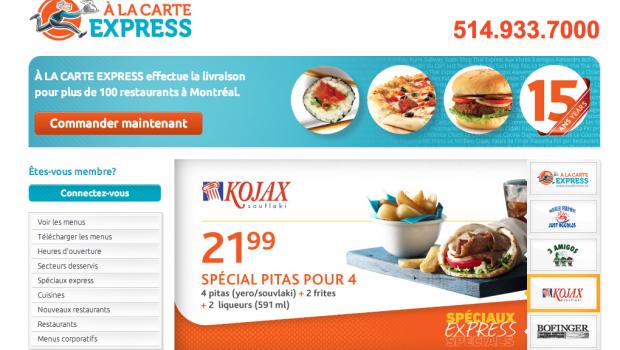 À La Carte Express: commander vos repas en ligne