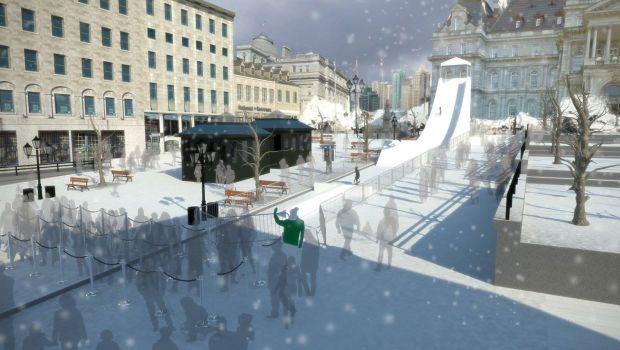 Descentes de trois-skis dans le Vieux-Montréal